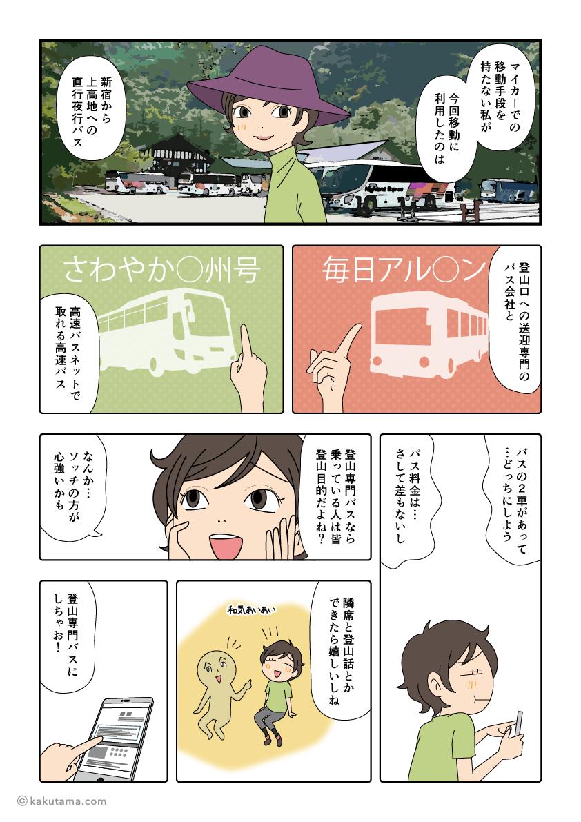 初めての登山バスの思い出漫画1