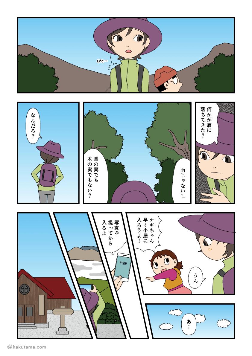 登山中に肩に何かが落ちてきた漫画1