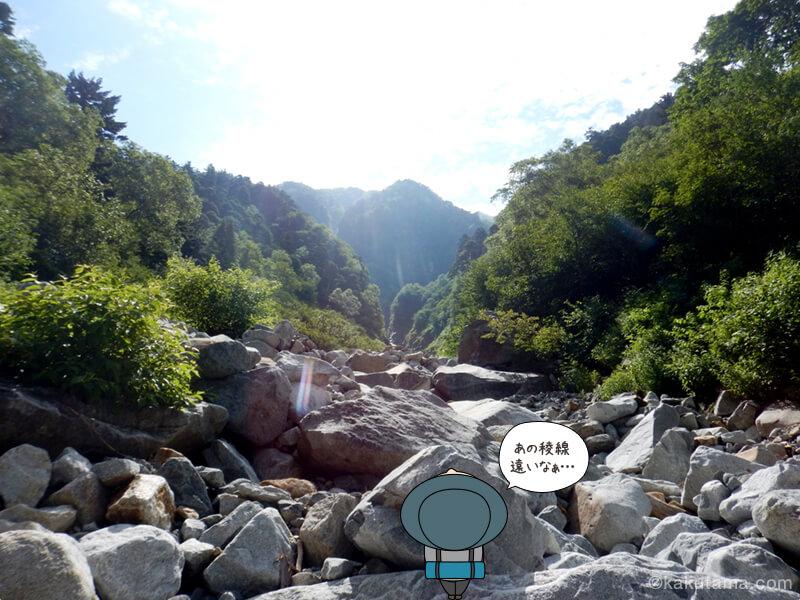 チビ滝谷から穂高を見上げる