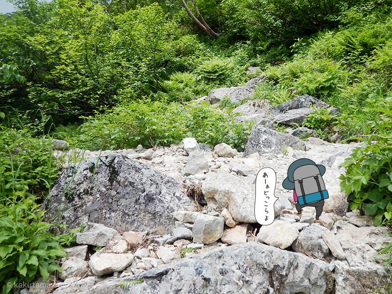 岩場を登る2