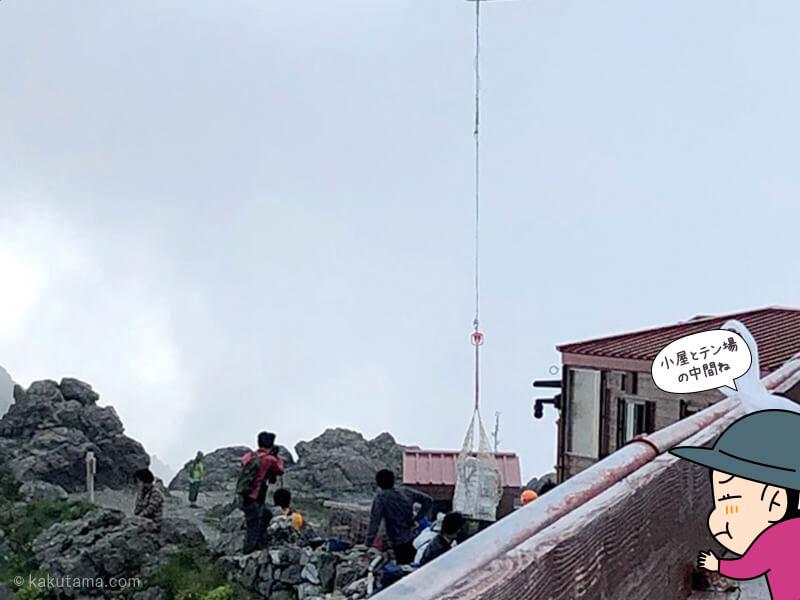 槍ヶ岳山荘に荷降ろしするヘリ