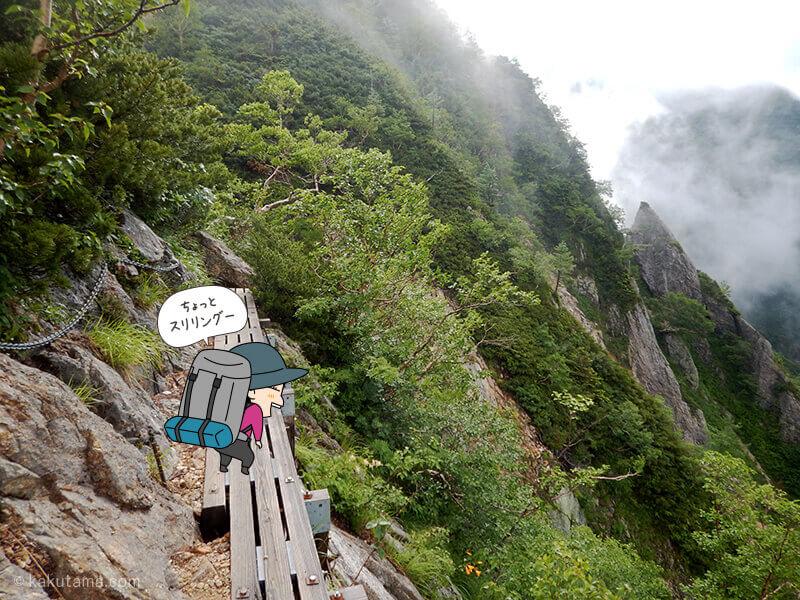 水俣乗越から西岳へ細い橋を渡る