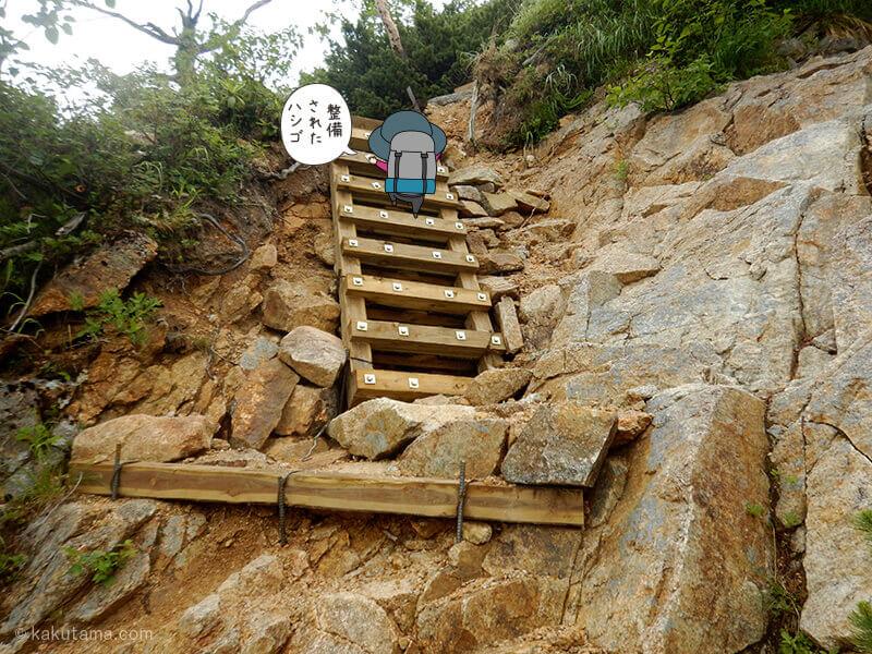 水俣乗越から西岳へ急なハシゴを登る