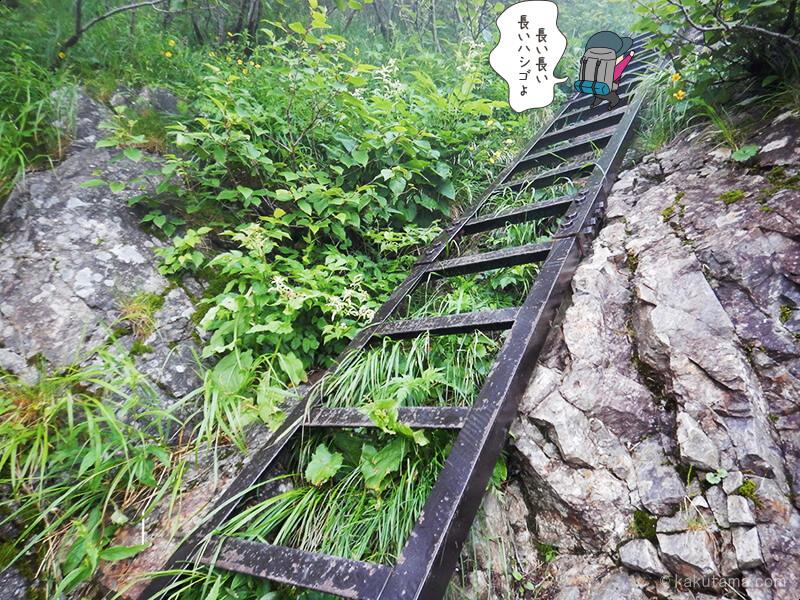 西岳への長いハシゴを登る