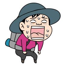 辛い顔をした登山者のイラスト2