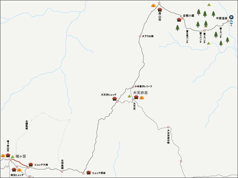 槍ヶ岳からヒュッテ大槍までのイラストマップ