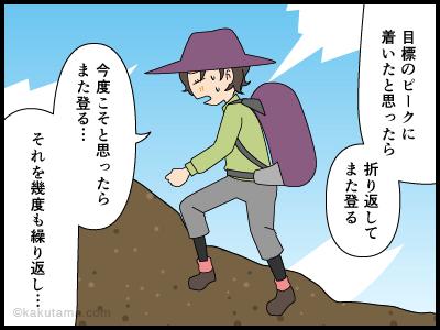 山頂に着いたと思ったのに標識がなくて焦る漫画1