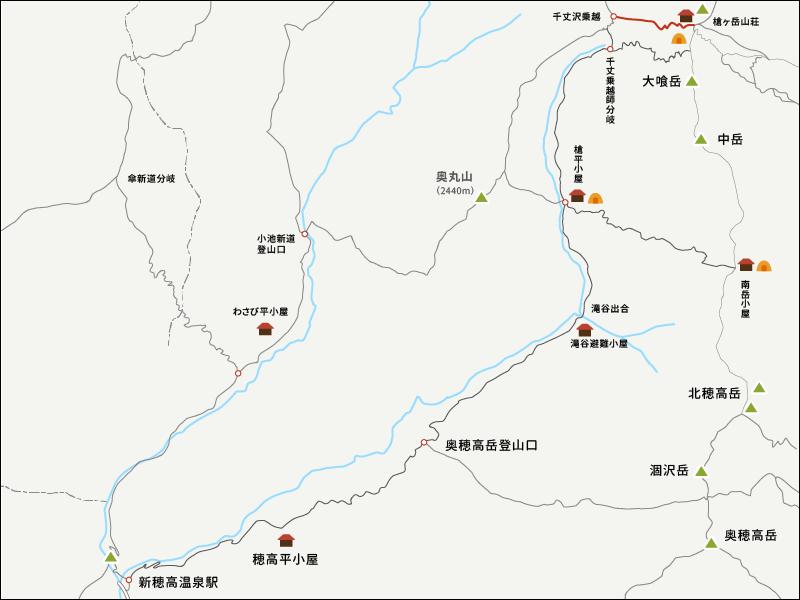 イラストマップ3槍ヶ岳まで