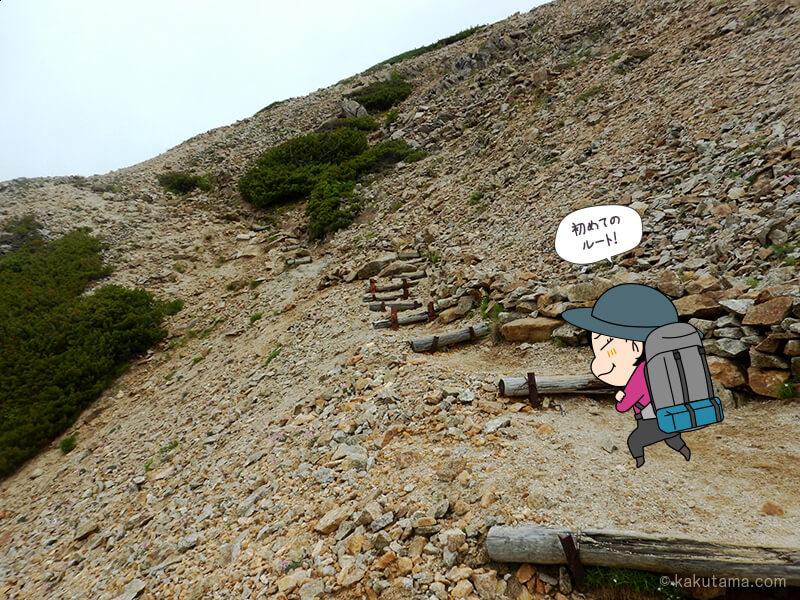 登山道を歩く1