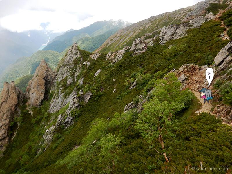 登山道を歩く3