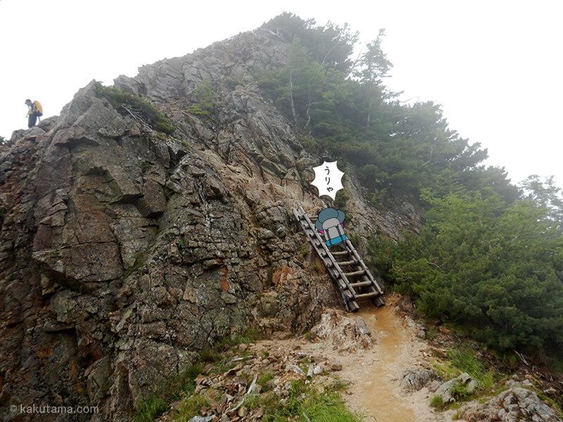 喜作レリーフからハシゴを登る