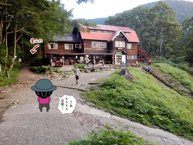 猿倉荘と登山口
