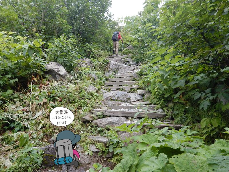 白馬尻小屋から階段を登る