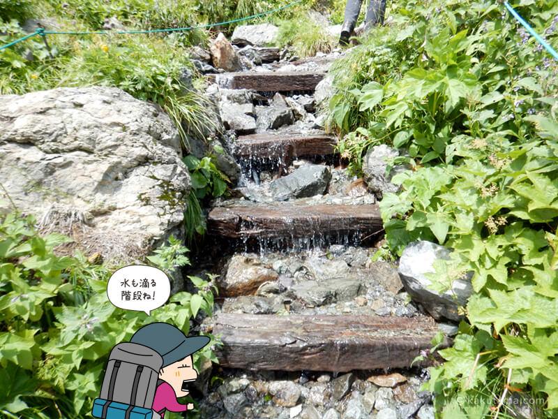 水の滴る階段