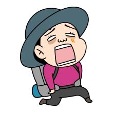 疲れた顔の登山者のイラスト