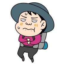 辛い顔をしている登山者のイラスト