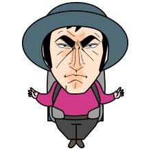 ゴルゴ顔の登山者のイラスト1