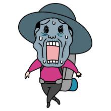 青い顔をした登山者のイラスト