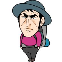 ゴルゴ顔の登山者のイラスト2