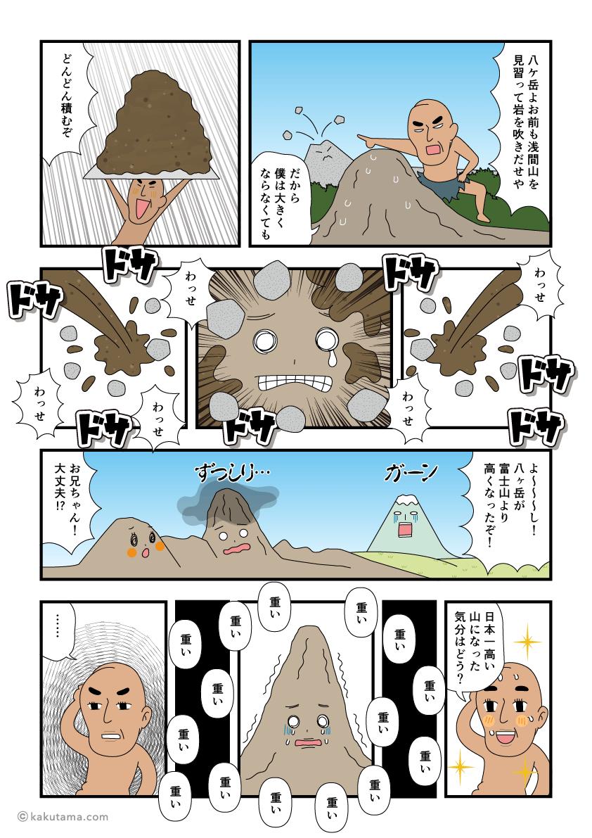 ダイダラボッチに土を盛られて苦しい八ヶ岳の漫画