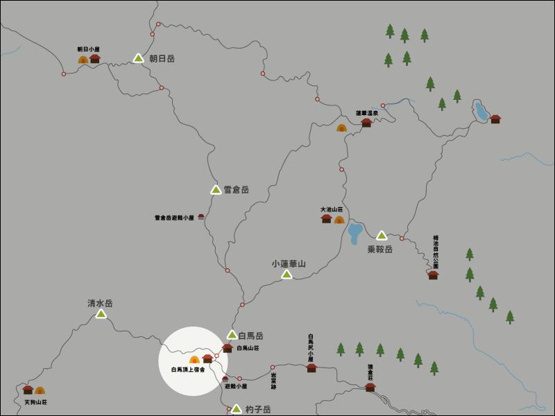 白馬頂上宿舎のイラストマップ