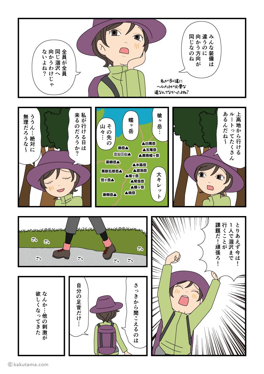 上高地から林道を歩き始める漫画2