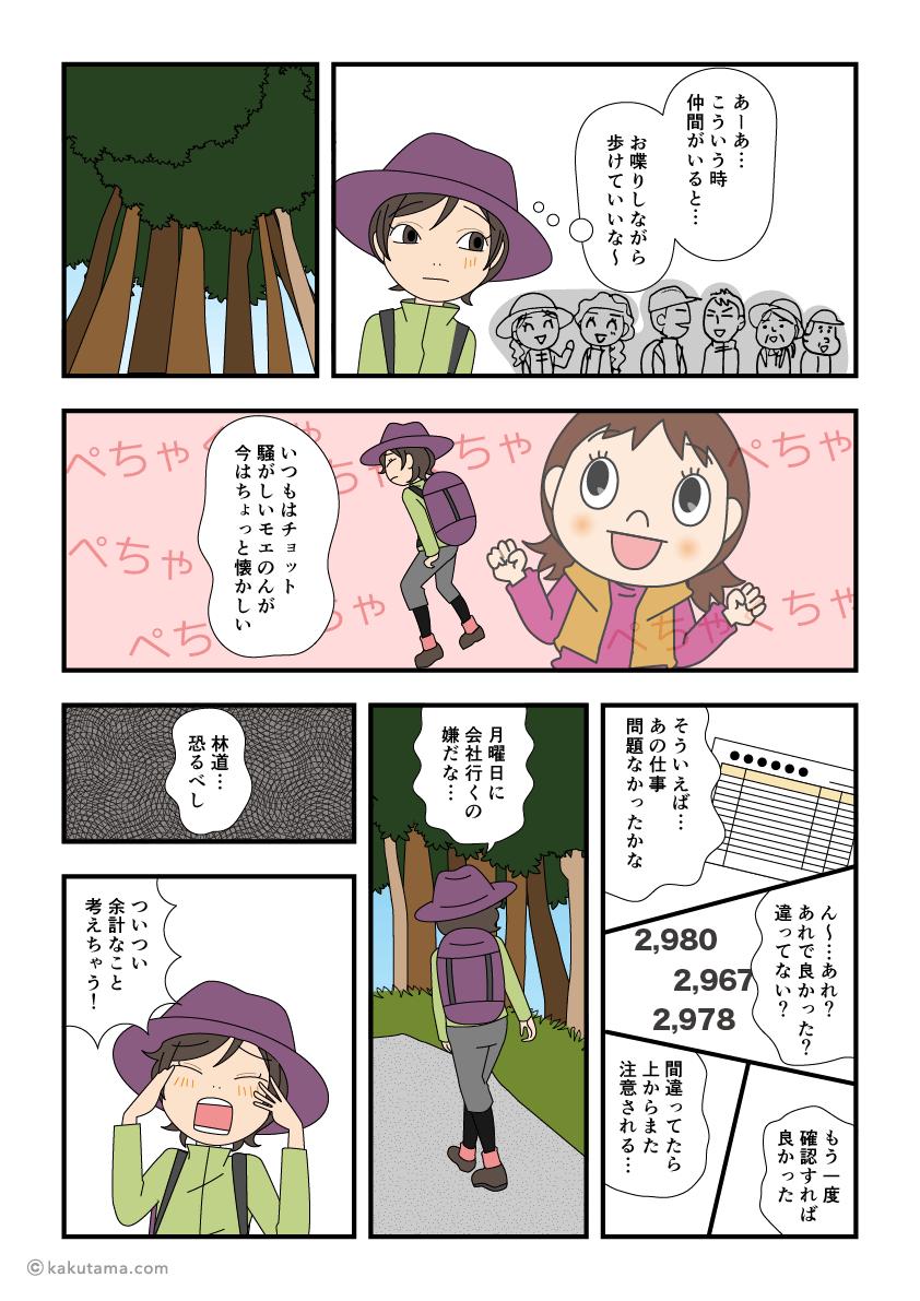 上高地から林道を歩き始める漫画3
