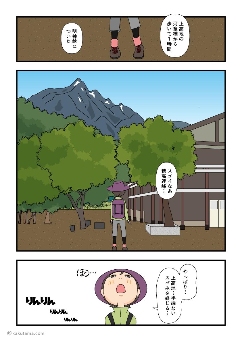 上高地・明神館に着いた漫画