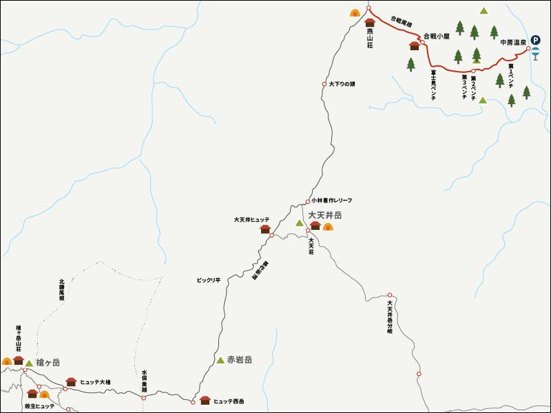 燕山荘から中房温泉までのイラストマップ