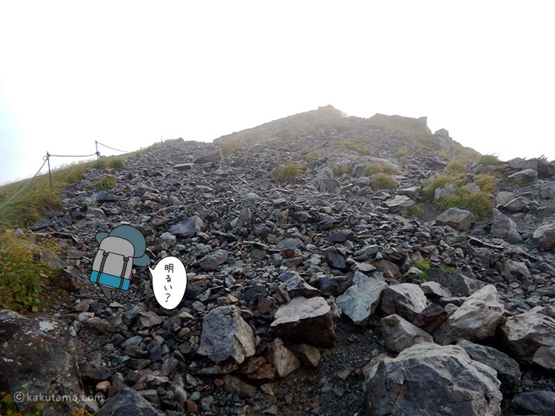 白馬山荘から白馬岳へ向けて登る2