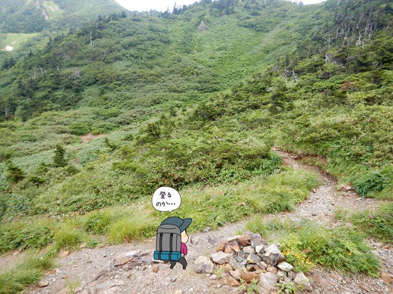 雪倉岳と朝日岳の鞍部まで来た2