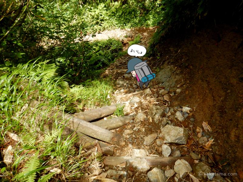 土と石の道を登る