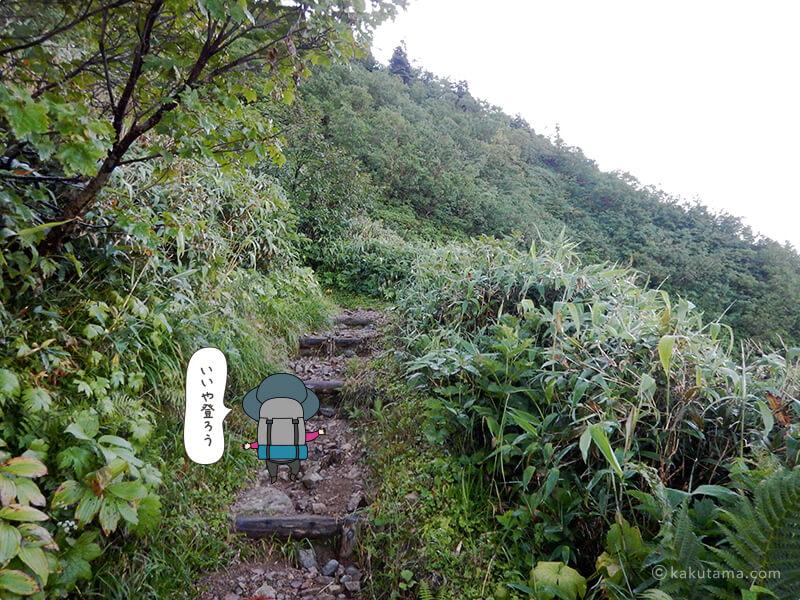 朝日岳を登る1