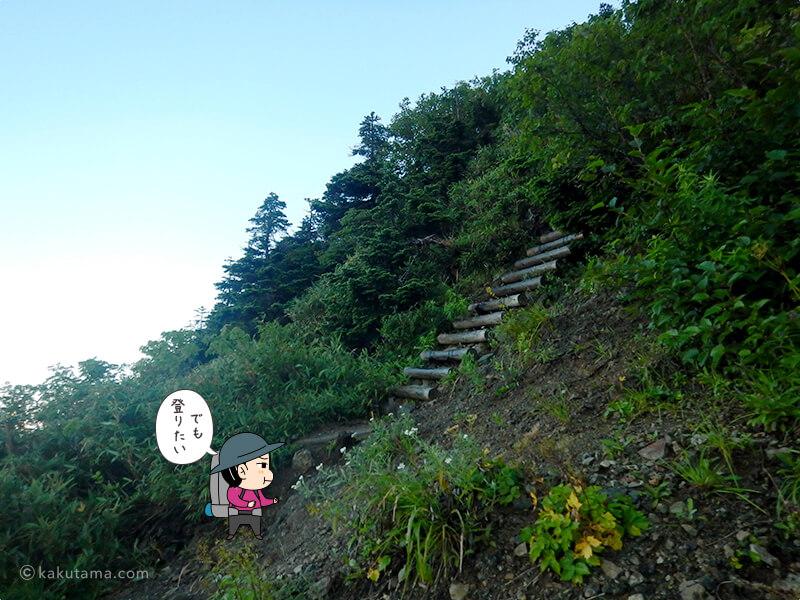 朝日岳を登る2