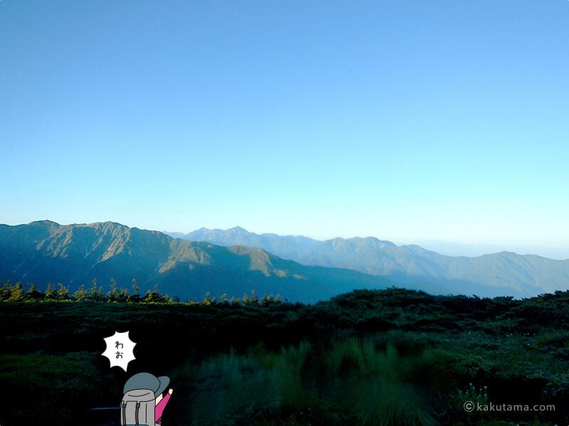 朝日岳から見る北アルプスの山々
