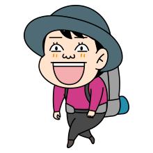 笑う登山者のイラスト