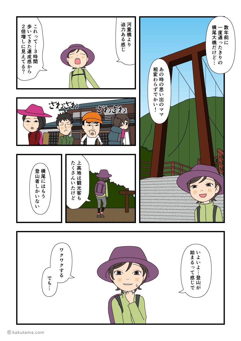 横尾大橋で小休止する漫画1