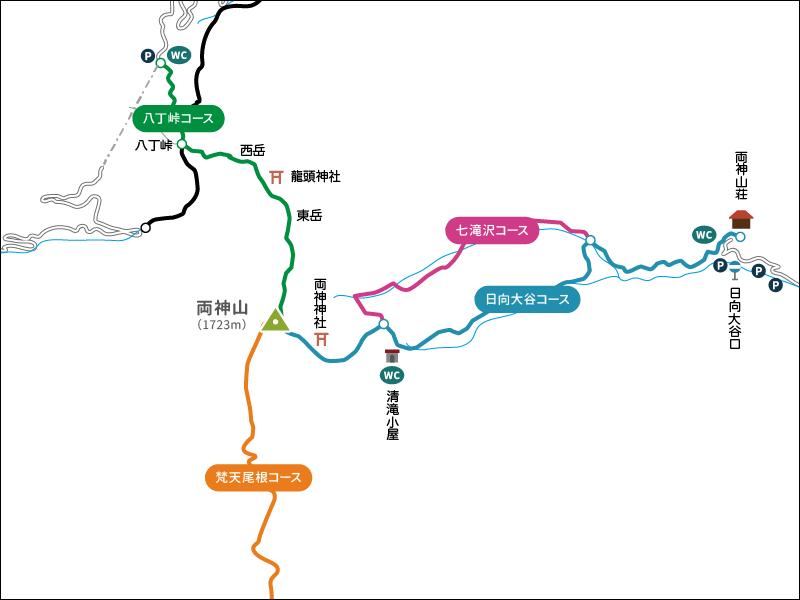 両神山の地図