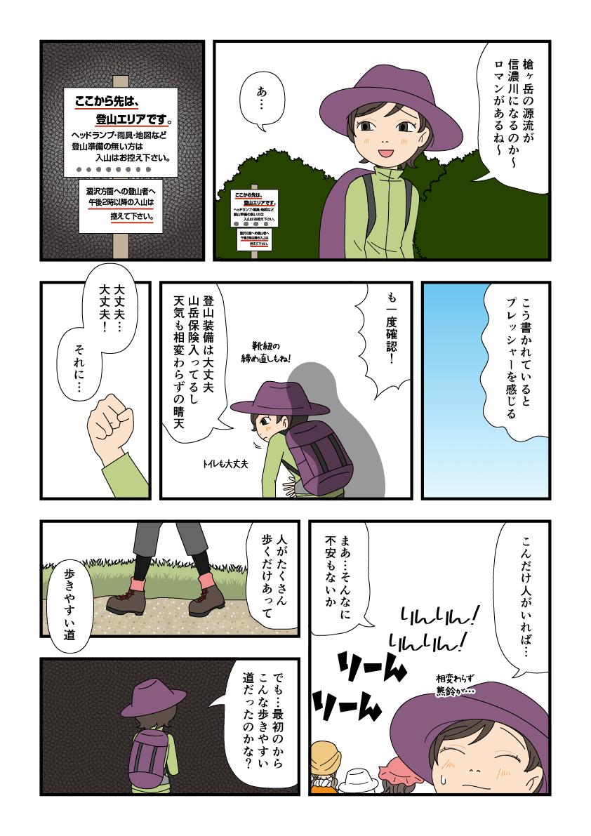 横尾大橋を渡って登山最終点検をする漫画