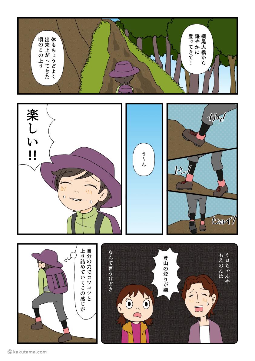 登山の上りが楽しい登山者の漫画1