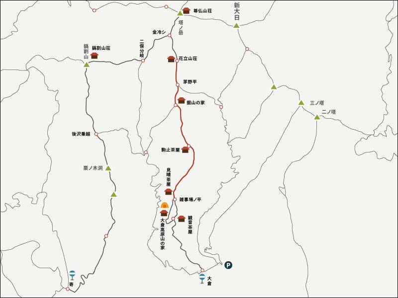 単独で塔ノ岳・鍋割山・栗ノ木洞を周回登山イラストマップ2