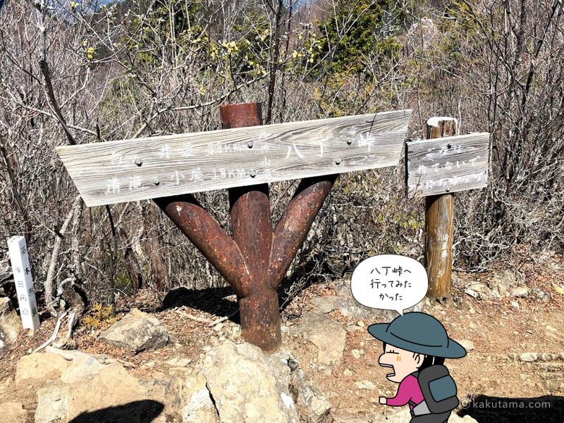 両神山山頂の八丁峠方面への道標