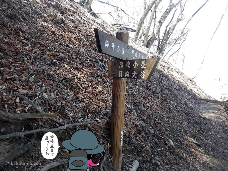 七滝沢コースとの分岐点