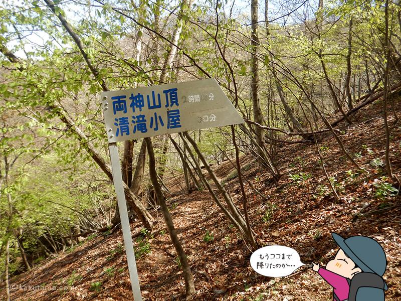 両神山頂への道標