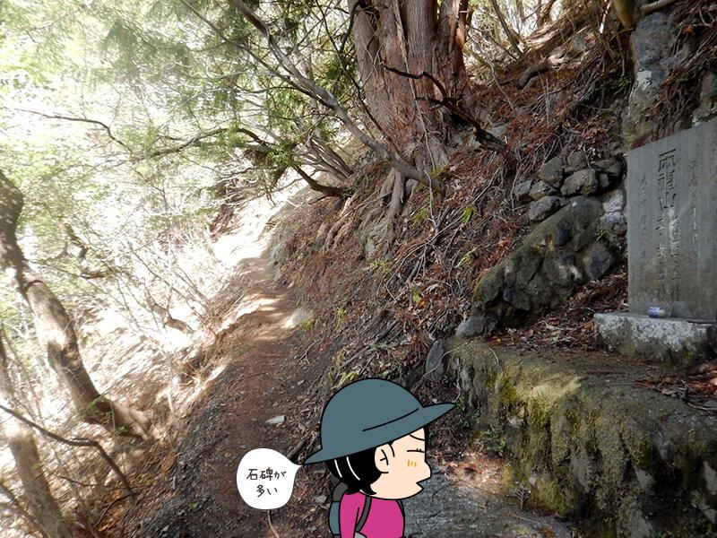 日向大谷の登山口すぐの石碑