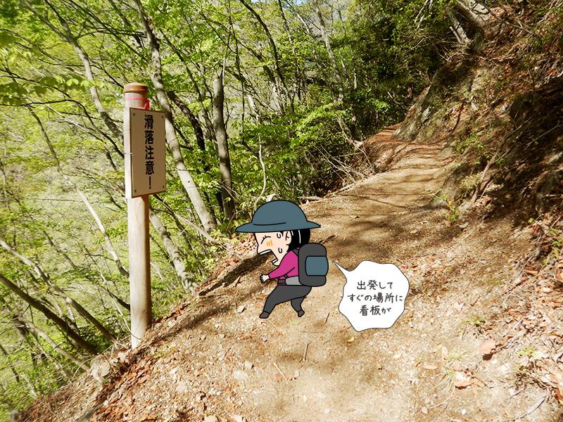 日向大谷の登山道滑落注意の看板