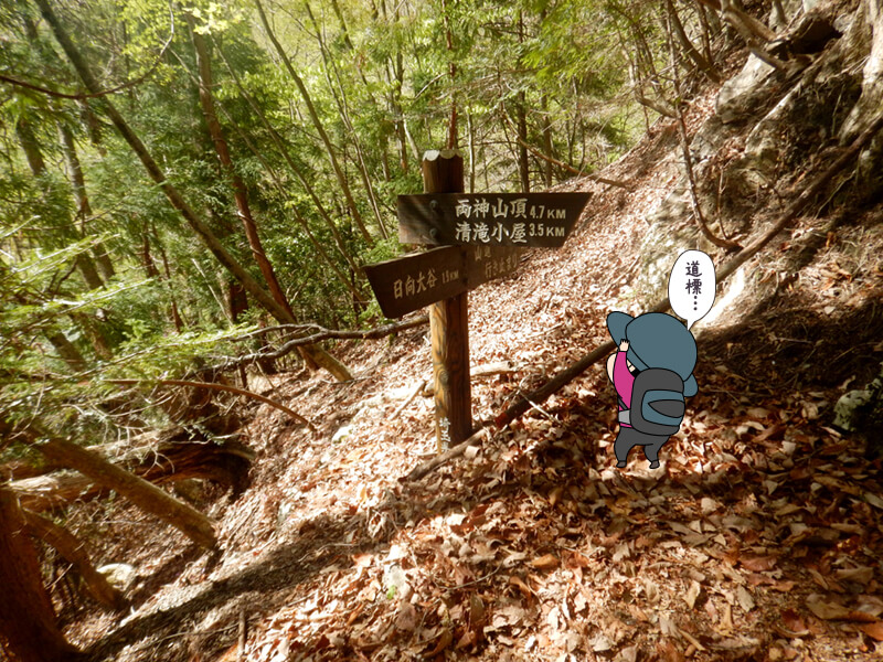 標識の多い七滝沢コース