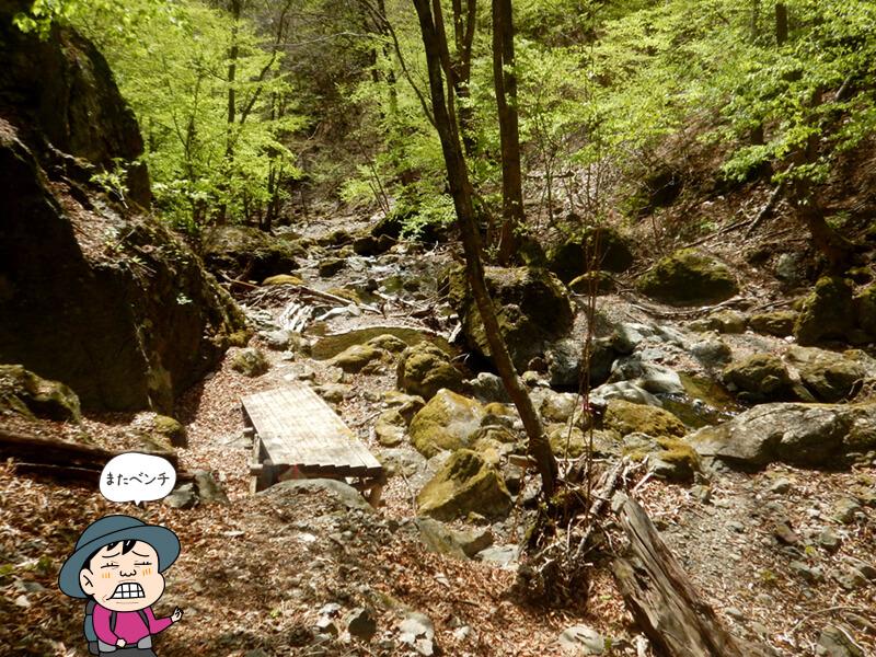 七滝沢コースの沢近くのベンチ