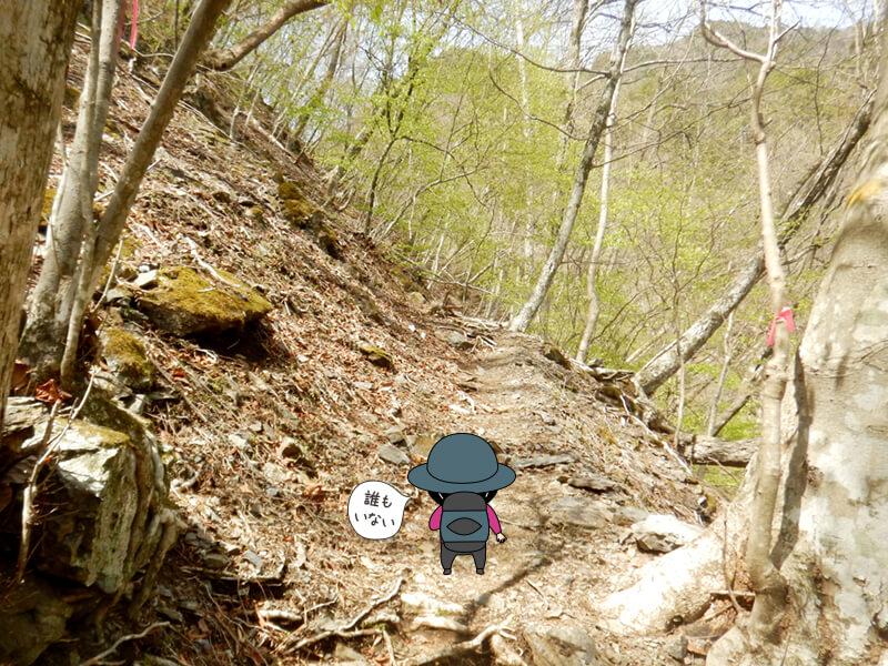 上りが続く七滝沢コース