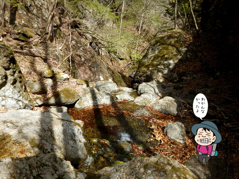 七滝沢コースにある赤滝は分からなかった